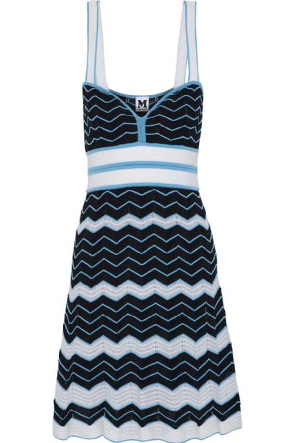 Missoni Pleated crochet-knit cotton-blend dress