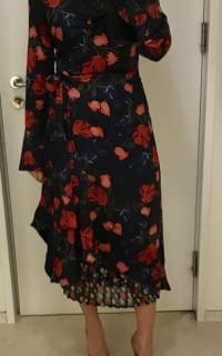 Mother of Pearl Floral Wrap Silk Midi Dress 8 Preview Images