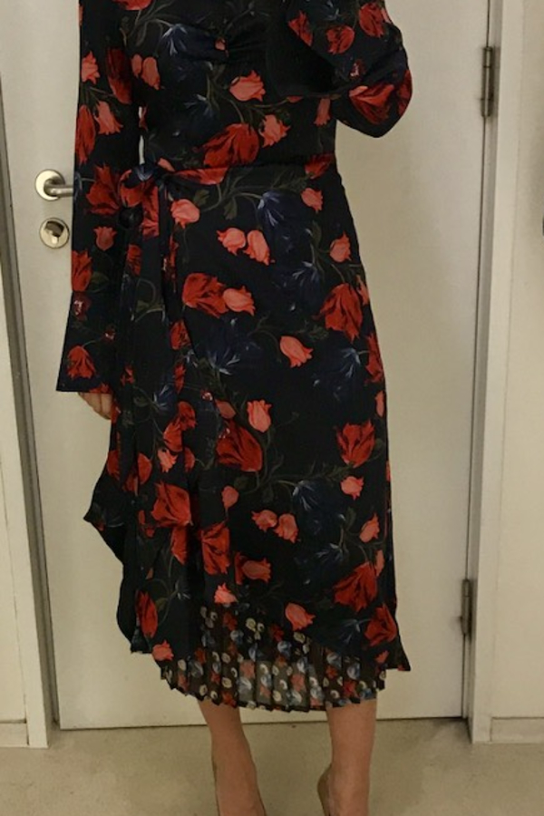 Mother of Pearl Floral Wrap Silk Midi Dress 8