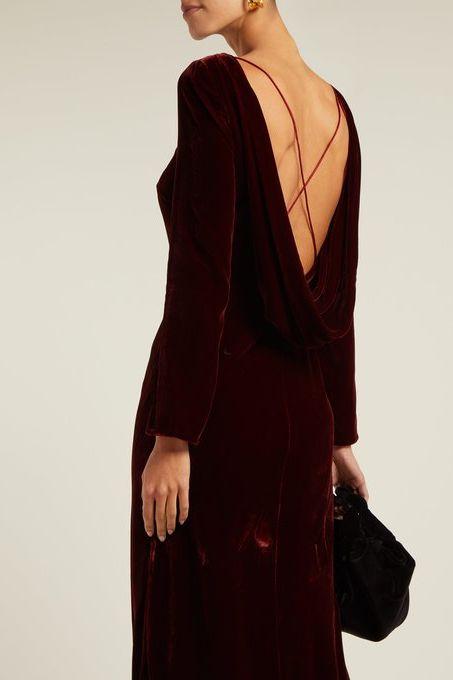 Saloni Tina Boat-Neck Velvet Dress 5 Preview Images