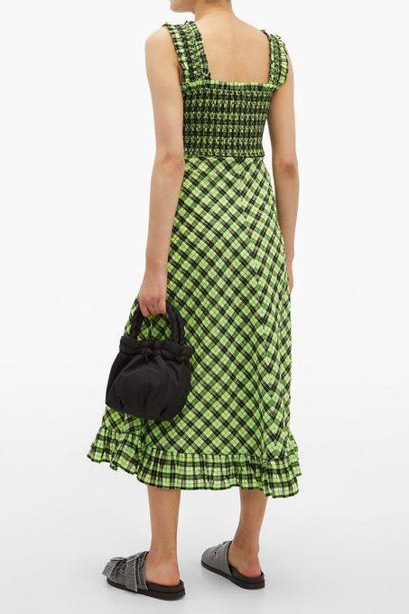 Ganni Checked cotton-blend midi dress 2 Preview Images