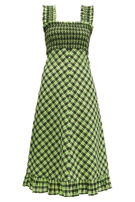Ganni Checked cotton-blend midi dress Preview Images