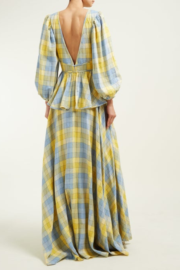 Staud Panarea checked linen maxi 2