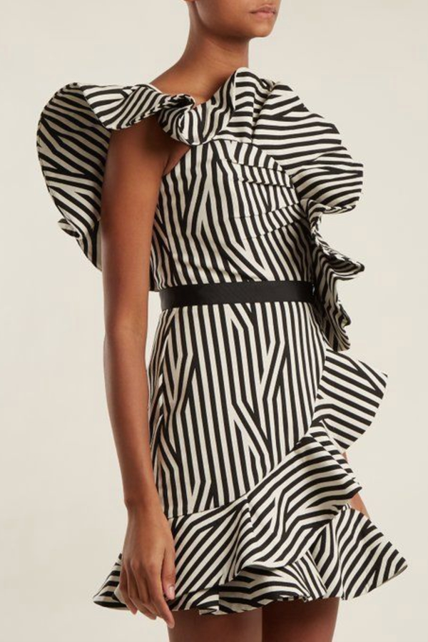 Self Portrait One Shoulder Striped Ruffle  1 Preview Images