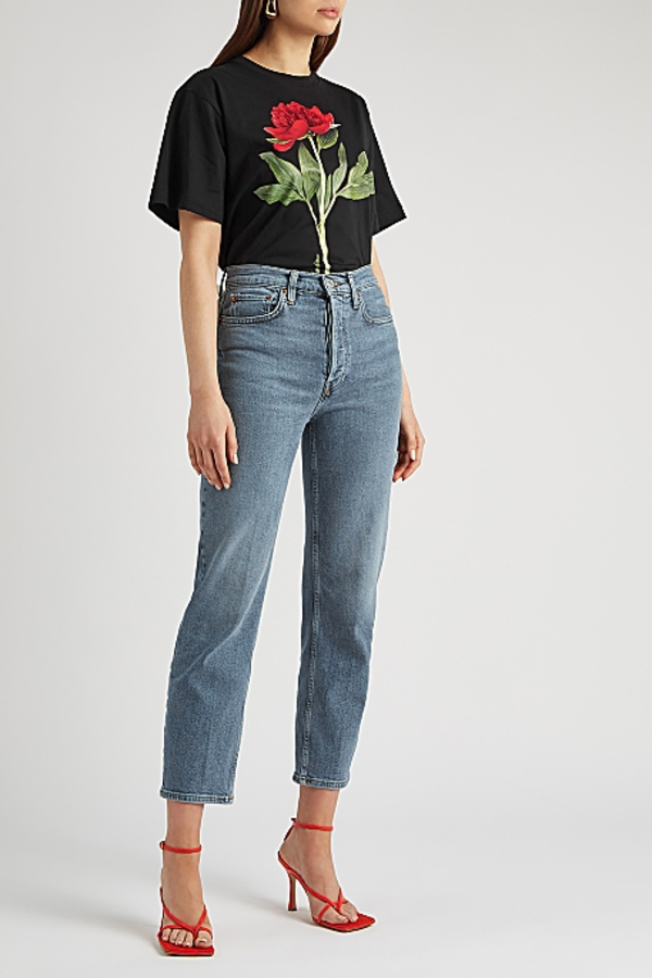 Moschino Black rose-print T-shirt 3 Preview Images