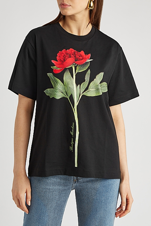 Moschino Black rose-print T-shirt 1 Preview Images