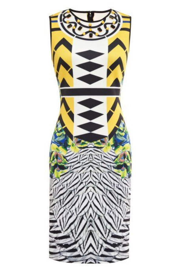 Clover Canyon Toucan Embellished Printed Neoprene Dress
