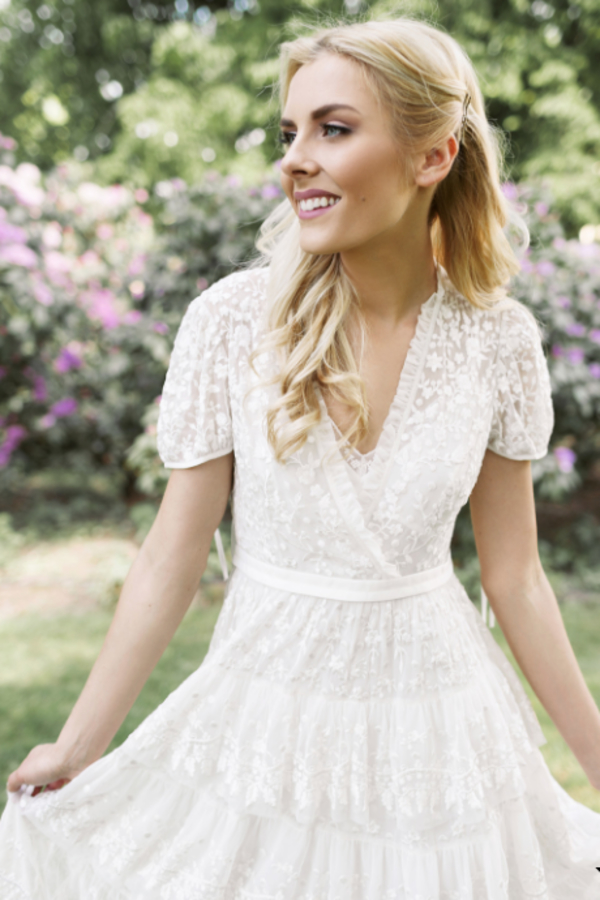 Needle & Thread White Tiered Lace Dress 2 Preview Images