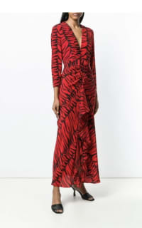 RIXO London Rose Tiger-Print Silk Dress 2 Preview Images