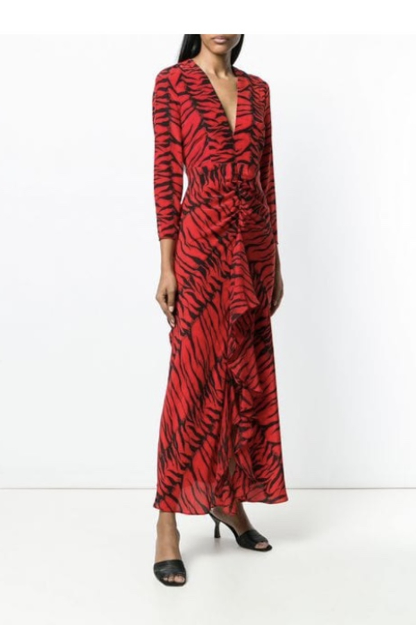 RIXO London Rose Tiger-Print Silk Dress 2