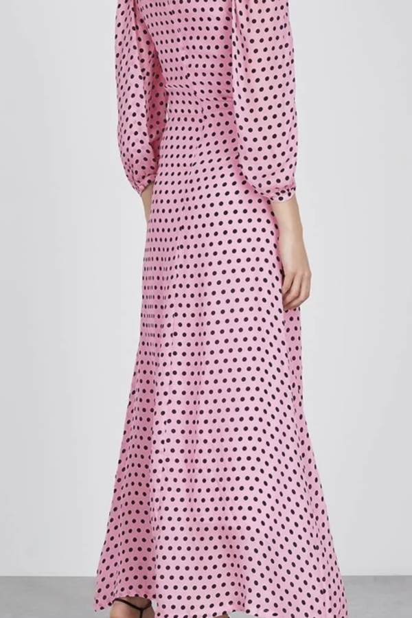 Olivia Rubin Pink and black spot maxi dress 3 Preview Images
