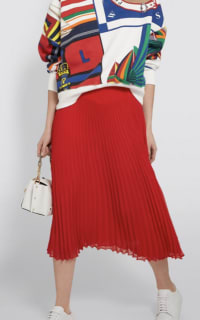 Ralph Lauren Pleated Georgette Midi Skirt 4 Preview Images