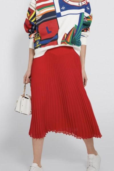 Ralph Lauren Pleated Georgette Midi Skirt 4