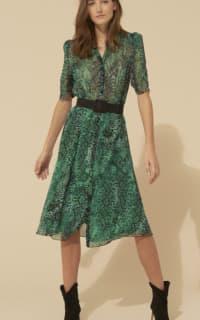 BA&SH Rozy Snakeskin Chiffon Dress 4 Preview Images
