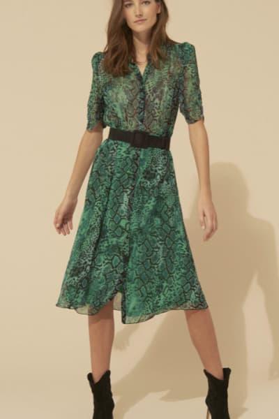 BA&SH Rozy Snakeskin Chiffon Dress 4