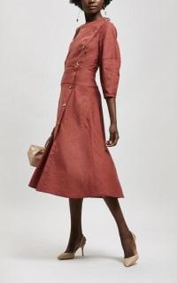 Rejina Pyo Button Detail Linen Midi-Dress Preview Images