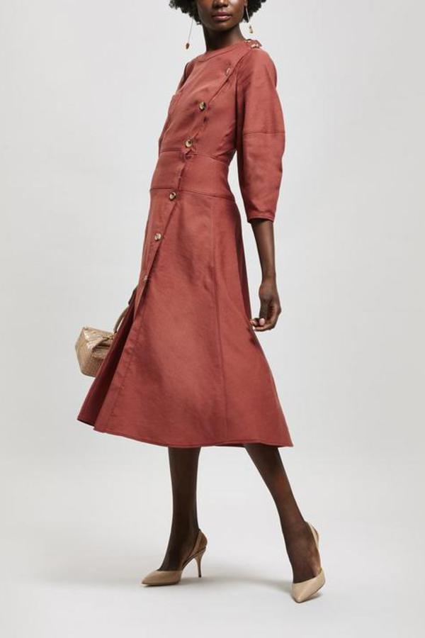 Rejina Pyo Button Detail Linen Midi-Dress
