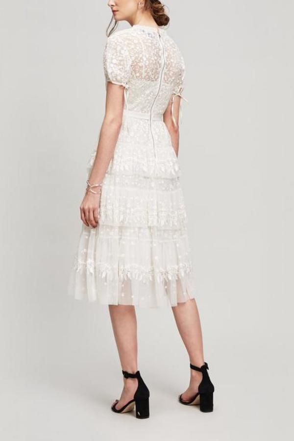 Needle & Thread White Tiered Lace Dress 3 Preview Images