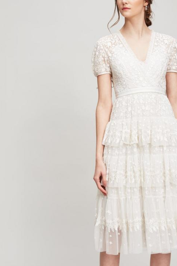 Needle & Thread White Tiered Lace Dress 1 Preview Images