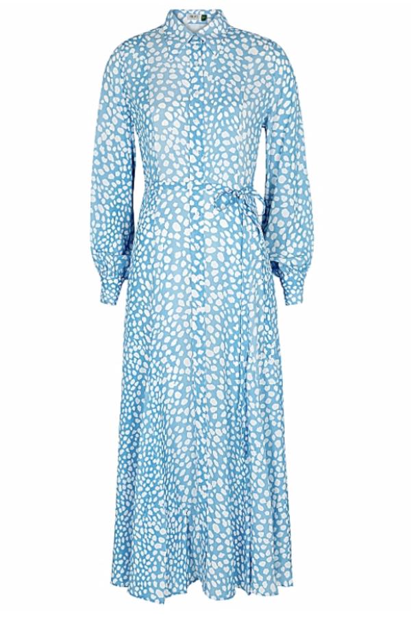 RIXO London Maddison printed satin shirt dress