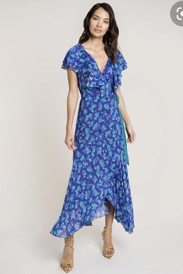 Image 1 of Beulah London ratna blue floral wrap dress