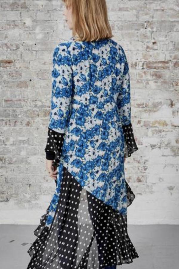RIXO London Luna Blue Diana Floral Mono Spot Dress 2