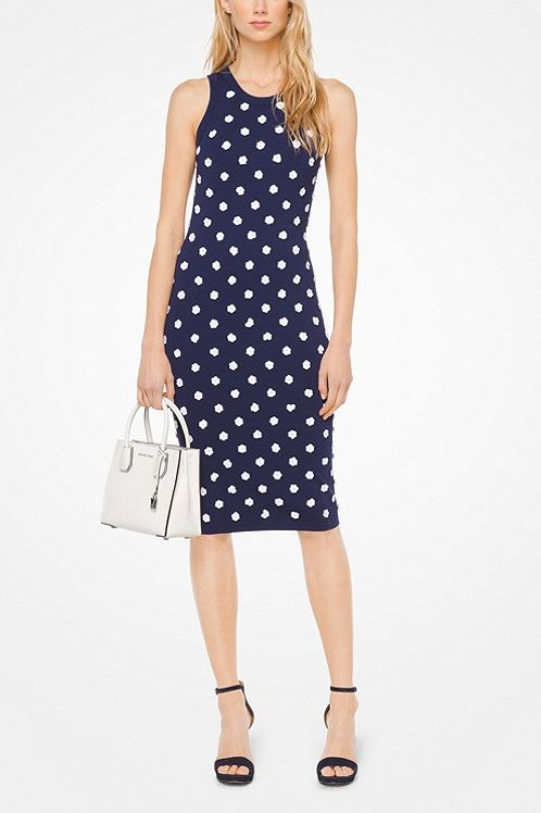 Michael Kors Floral Embellished Stretch-Viscose Dress 2 Preview Images