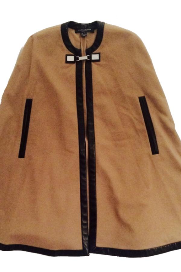 Ralph Lauren Beige Cashmere & Leather Cape 3