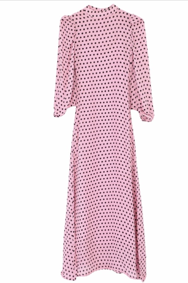 Olivia Rubin Pink and black spot maxi dress 0 Preview Images