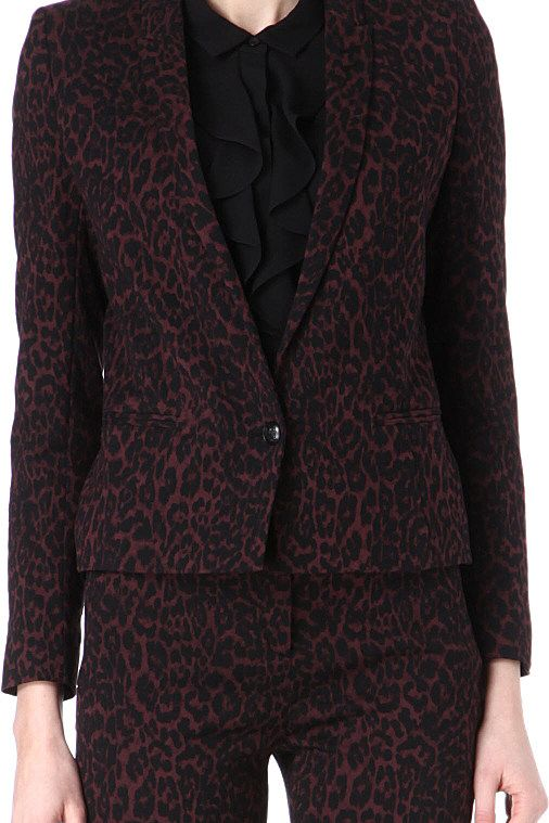 The Kooples Burgundy & Black Animal Print Blazer  4 Preview Images