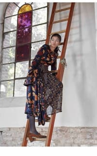 Mother of Pearl Floral Wrap Silk Midi Dress 7 Preview Images