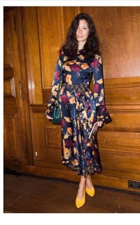 Mother of Pearl Floral Wrap Silk Midi Dress 3 Preview Images