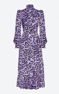 ALESSANDRA RICH - HIGH-NECK LEOPARD-PRINT DRESS