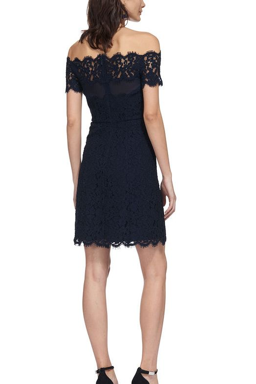 Whistles Off Shoulder Short Lace Dress 3 Preview Images