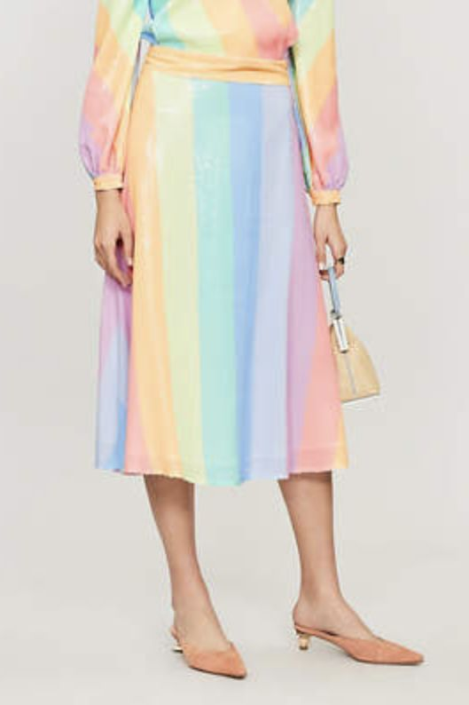 Olivia Rubin Penelope rainbow-striped sequinned skirt 2 Preview Images