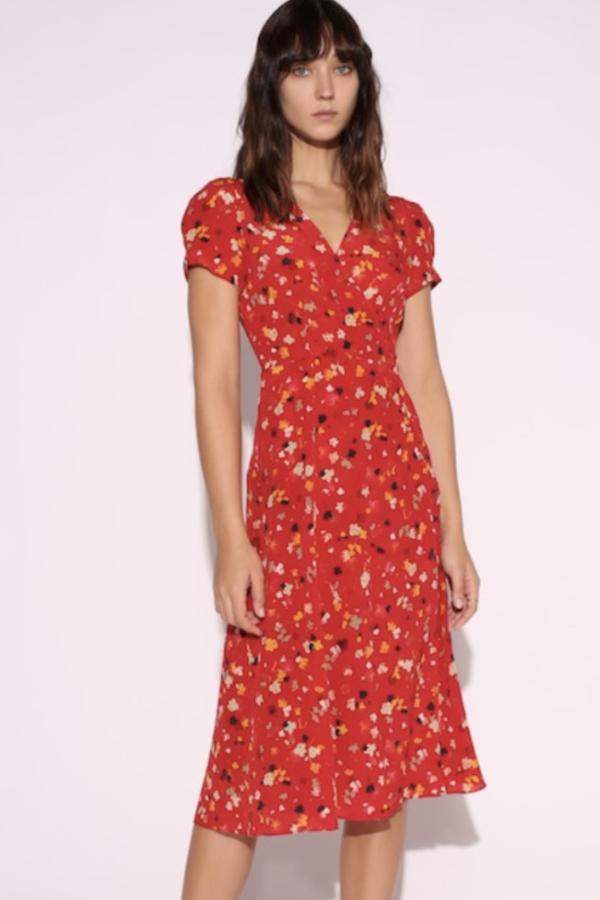 Realisation Par Red floral midi dress 3