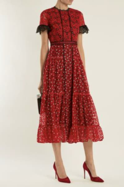 Saloni Red floral lace dress 3