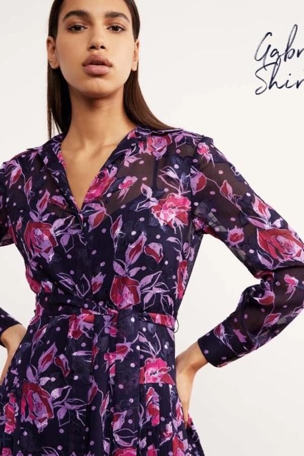 Kitri Gabriella Purple Pleated Shirt Dress 3