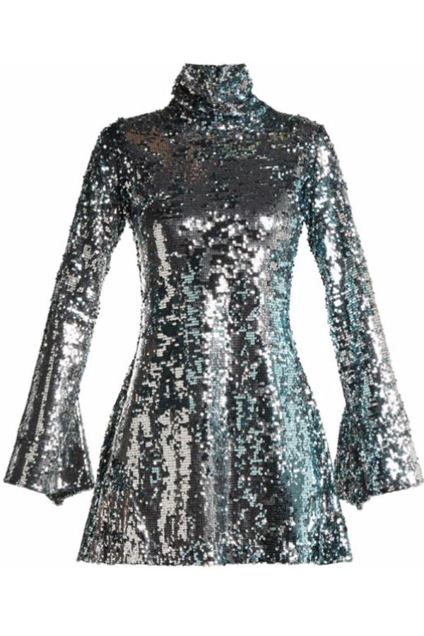 Halpern Metallic sequined mini dress 4