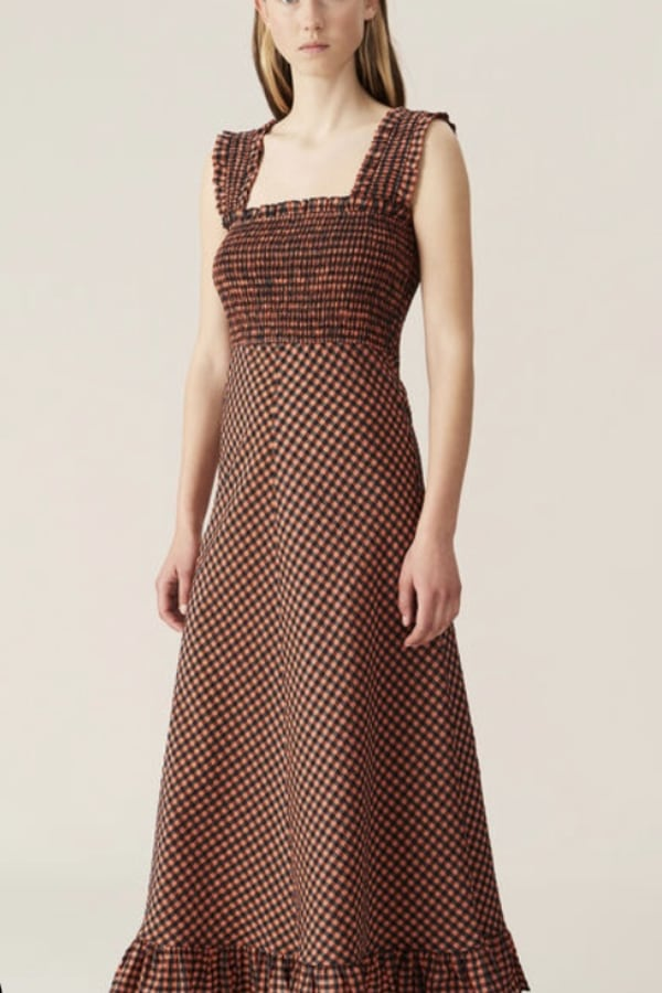 Image 2 of Ganni seersucker midi dress