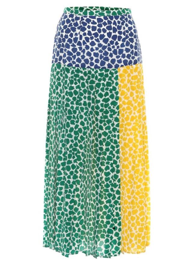 RIXO London Tina silk printed midi skirt