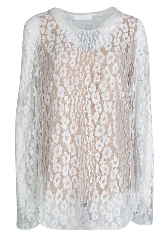 Chloé White Contrast Lined Long Sleeve Floral Lace Top 4 Preview Images