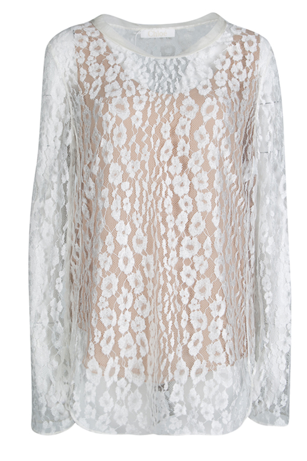 Chloé White Contrast Lined Long Sleeve Floral Lace Top 4