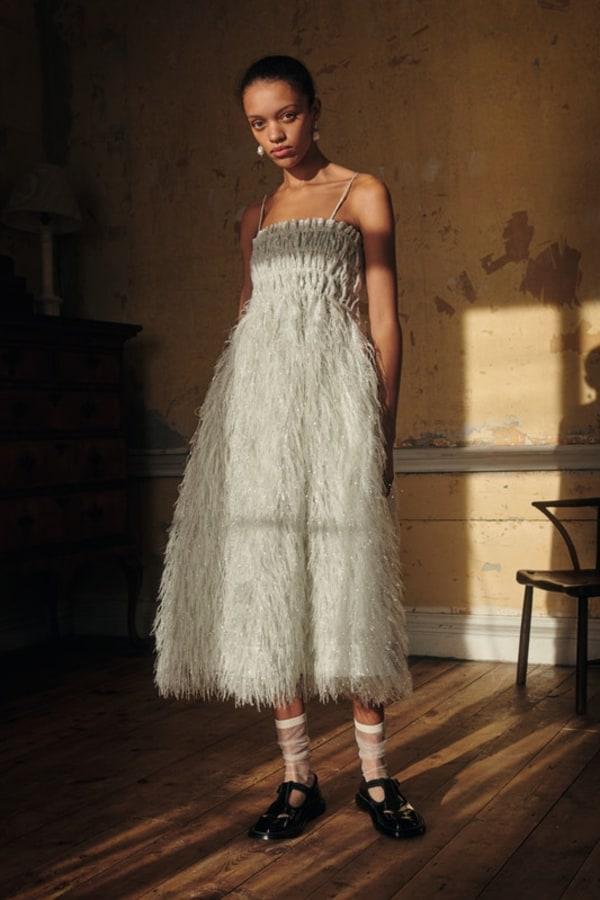 Image 2 of Ganni feather silver midi dress