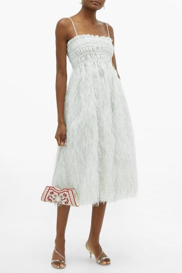 Image 5 of Ganni feather silver midi dress