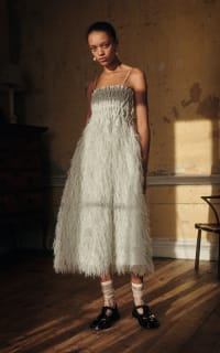 Ganni Feather silver midi dress 2 Preview Images