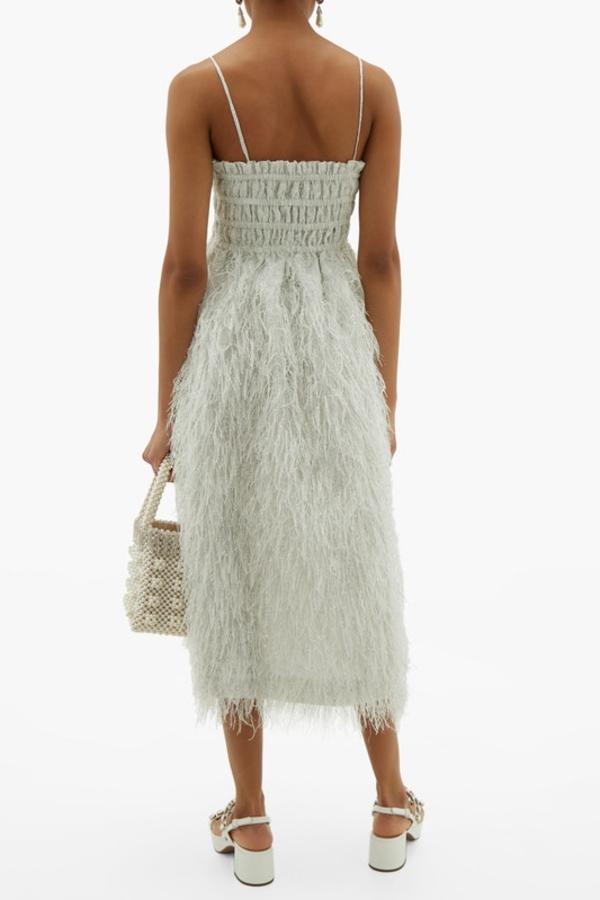 Ganni Feather silver midi dress 4