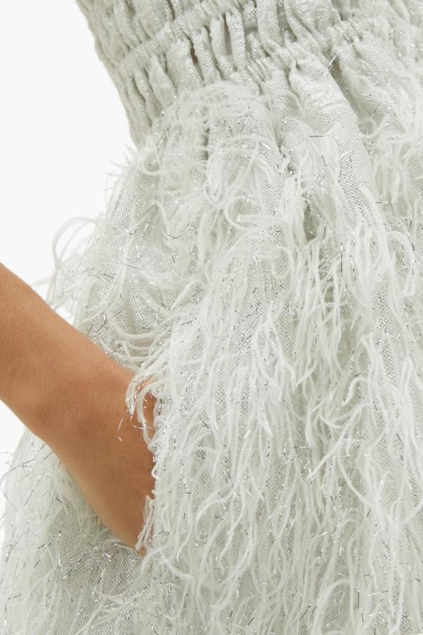 Ganni Feather silver midi dress 3