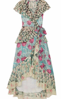 Temperley London Ruffled printed jacquard midi wrap dress Preview Images