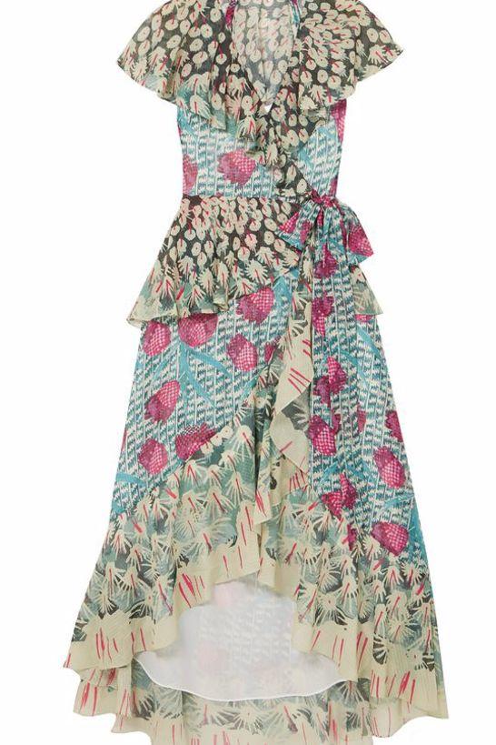 Temperley London Ruffled printed jacquard midi wrap dress Preview Images
